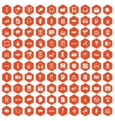 100 audio icons hexagon orange vector
