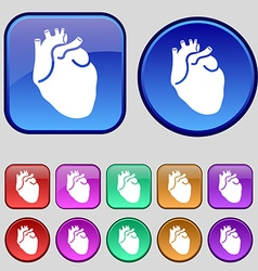 Human heart icon sign a set of twelve vintage vector