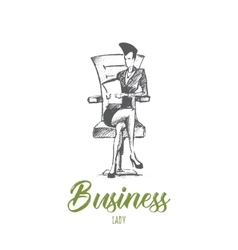 Hand drawn business lady on chair with lettering vector