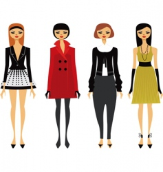 Fashionable girls vector