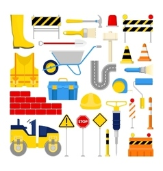 Road construction works icons set vector