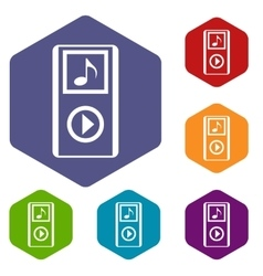 Mini mp3 portable player icons set vector