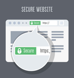 Website with ssl certificate - green address bar vector