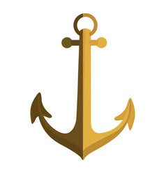gold silhouette of anchor icon design with half vector image