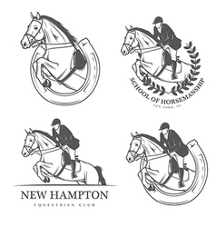 Set of vintage equestrian labels and badges vector image