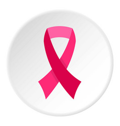 Breast cancer awareness ribbon icon circle vector