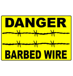 Barbed wire warning sign vector