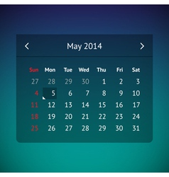 Calendar page for may 2014 vector