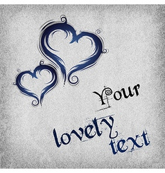 Heart baroque blue background with text vector