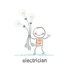 Electrician holding a light bulb with forks in vector