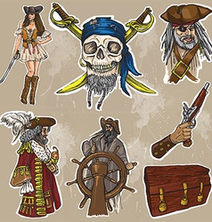 Pirates - an hand drawn colored pack no1 vector