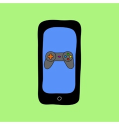 Doodle style phone with gamepad vector