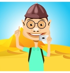 Traveler in glasses standing near pyramids vector