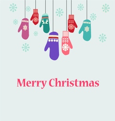 Winter clothes christmas card with mittens vector