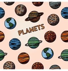 Hand drawn planet pattern with - mercury venus vector