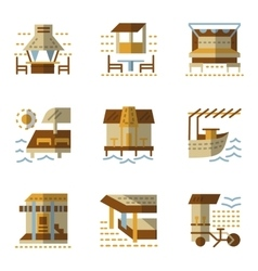 Flat simple icons for bungalows vector