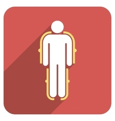 Exoskeleton flat rounded square icon with long vector