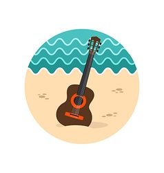 Guitar beach icon summer vacation vector