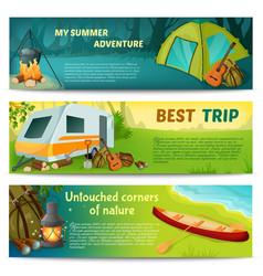 Camping horizontal banners set vector