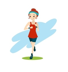 a Beautiful Cartoon Girl Running vector image
