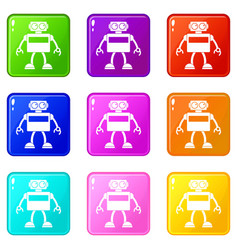 Android robot icons 9 set vector