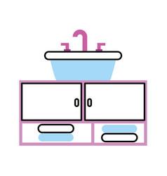 Bathroom interior with sink vanity cabinet vector