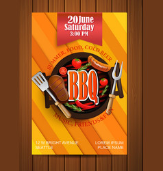Bbq grill flyer with elements vector