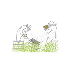 beekeepers a man and a woman in protective suits vector image
