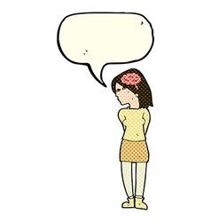 Cartoon brainy woman with speech bubble vector