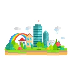 City landscape in flat vector