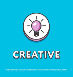 creative colour icon with light bulb vector image vector image