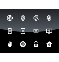 Fingerprint icons on black background vector image