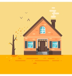 flat style of house in autumn vector image vector image