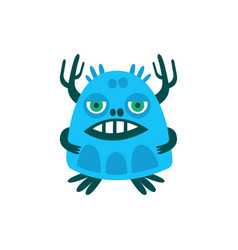Funny blue cartoon monster fabulous incredible vector