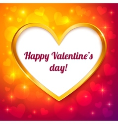 golden frame valentines greeting card vector image vector image