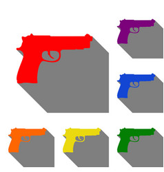 Gun sign set of red orange yellow vector
