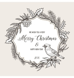 Hand drawn vintage christmas greeting card Happy vector image