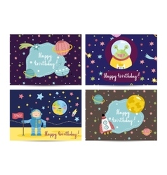 Happy birthday cartoon greeting cards set vector