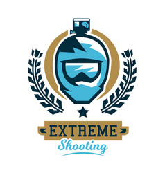 Logo cycling helmet and a camera extreme shooting vector