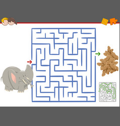 maze leisure game with elephant vector image