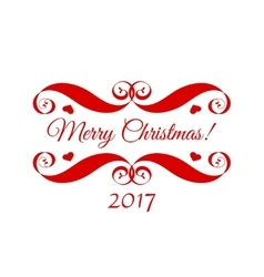 Merry christmas red badge over white vector