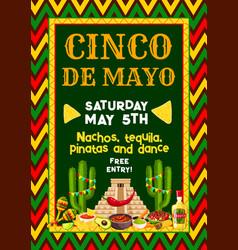 Mexican cinco de mayo party fiesta flyer vector
