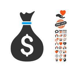 money bag icon with love bonus vector image
