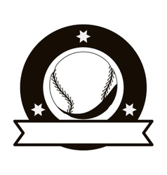 Monochrome emblem with baseball ball and ribbon vector
