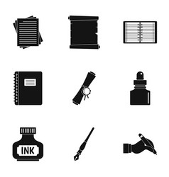notebook pen icon set simple style vector image