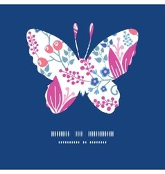 Pink flowers butterfly silhouette pattern frame vector