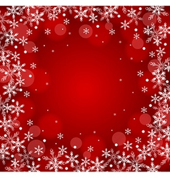 Red Christmas snow background vector image vector image