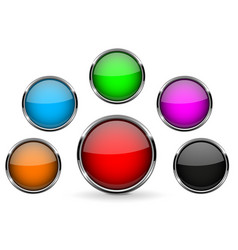 round glass buttons with metal frame colored vector image vector image