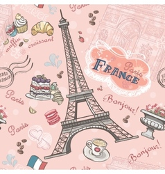Seamless pattern on Paris from the romantic vector image
