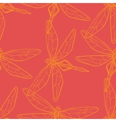 Seamless pattern with dragonfly on red background vector image